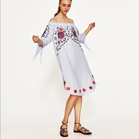 7ee579fc Zara off the shoulder linen midi dress. M_5ad5eb443afbbdffa08c8329